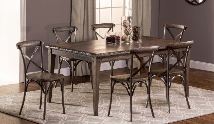 Lorient 7 PC Rectangle Dining Set with X Back Chair - Washed Charcoal Gray/Black