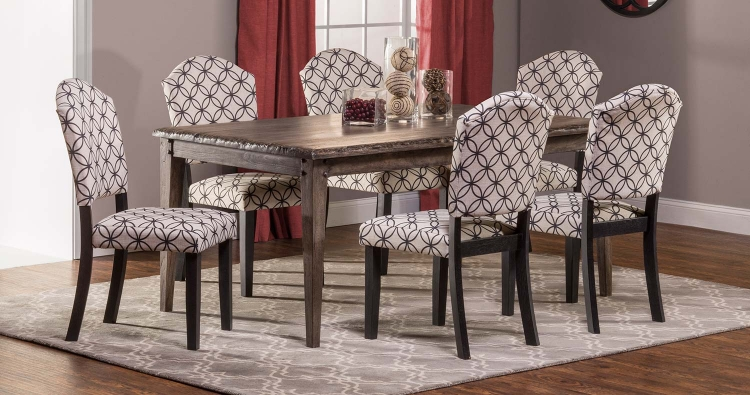 Lorient 7 PC Rectangle Dining Set with Parsons Chair - Washed Charcoal Gray/Black - Bristol Black - Off White with Black Circle Pattern