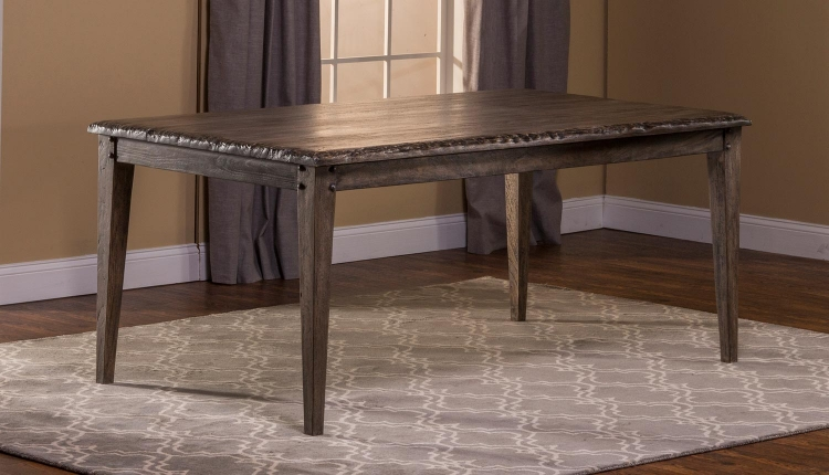 Lorient Rectangle Dining Table - Washed Charcoal Gray