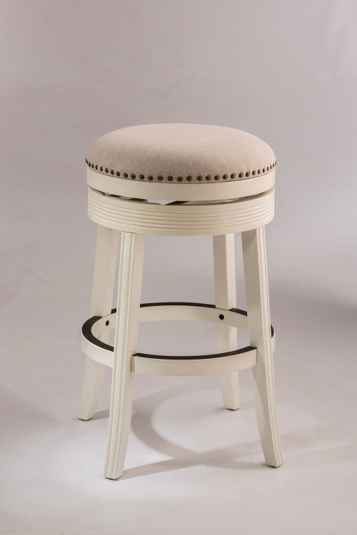Tillman Backless Swivel Counter Stool - White - Beige Fabric