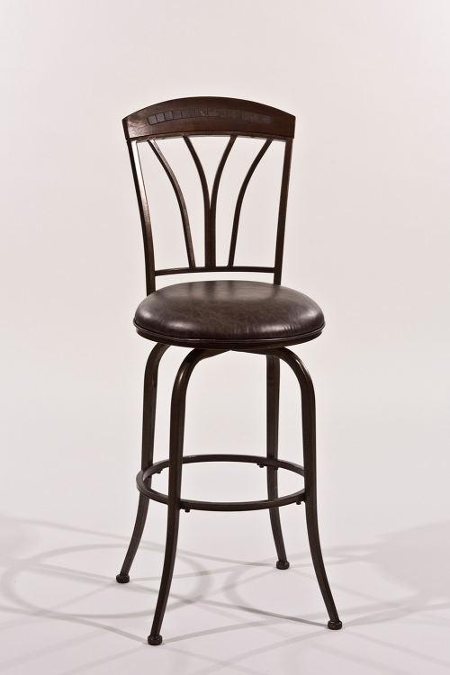 Marano Swivel Counter Stool - Speckled Bronze Pewter - Charcoal Faux Leather