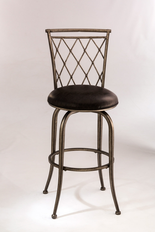 Woodson Swivel Counter Stool - Black Pewter - Black Leatherette