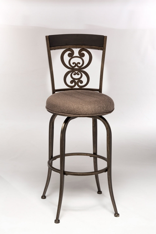 Andorra Swivel Bar Stool - Rubbed Pewter/Aged Espresso