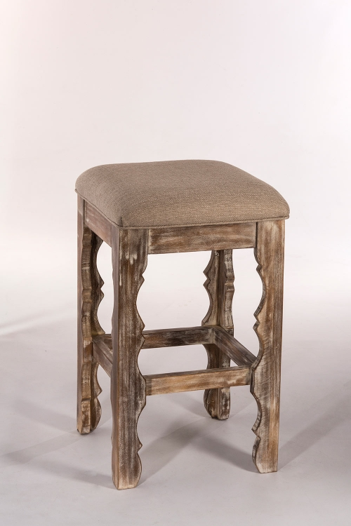 Carrara Backless Counter Stool - Whitewash - Woven Beige Fabric