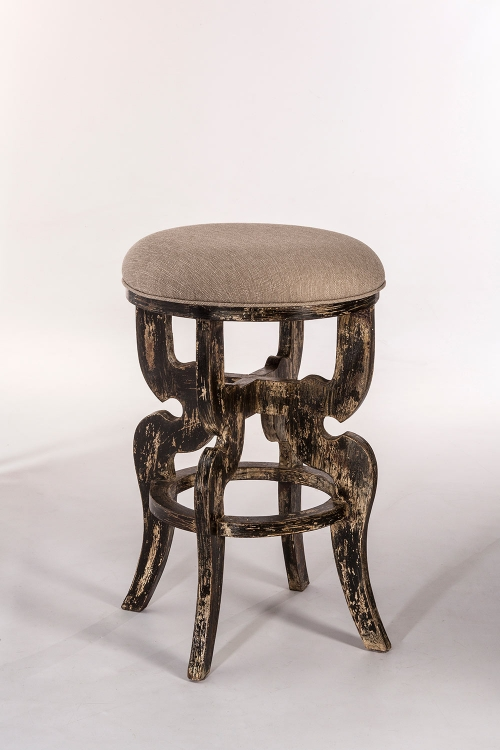 Medlock Backless Counter Stool - Blackwash - Woven Beige Fabric