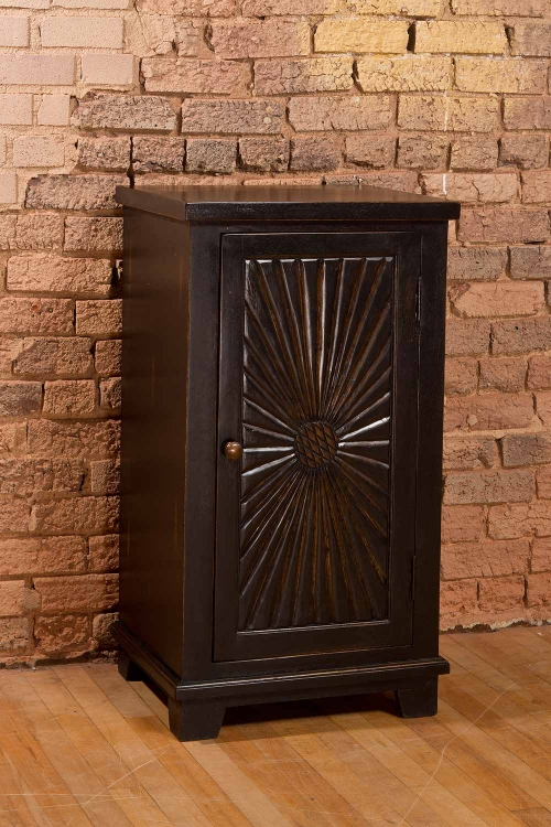 Hackett Cabinet with One Door - Light Walnut/Rubbed Black