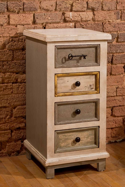LaRose Four Drawer Cabinet - Dove Gray/Antique White