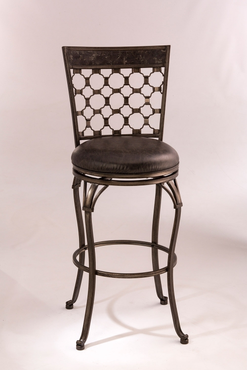 Brescello Swivel Counter Stool - Antique Pewter/Blue Stone Top Panel