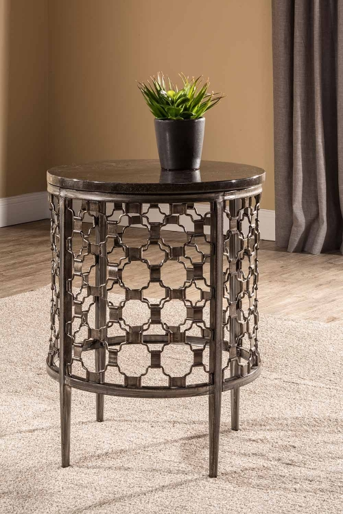 Brescello Round End Table - Charcoal/Blue Stone