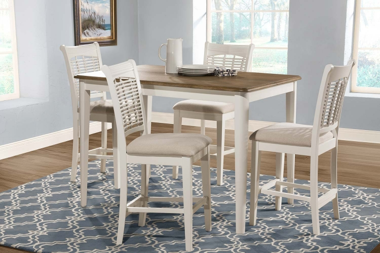 Bayberry 5-Piece Counter Height Dining Set - White/Driftwood