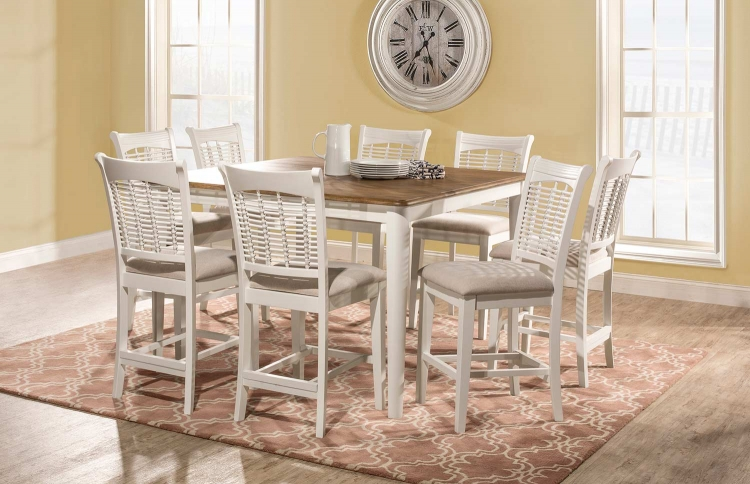 Bayberry 9-Piece Counter Height Dining Set - White/Driftwood