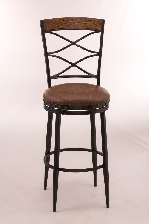 Zamora Swivel Counter Stool - Black/Distressed Brown Top