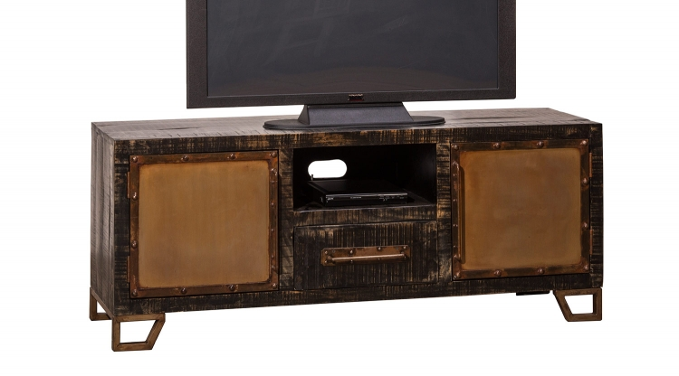 Bridgewater Entertainment Unit - Tan Wood/Black Metal