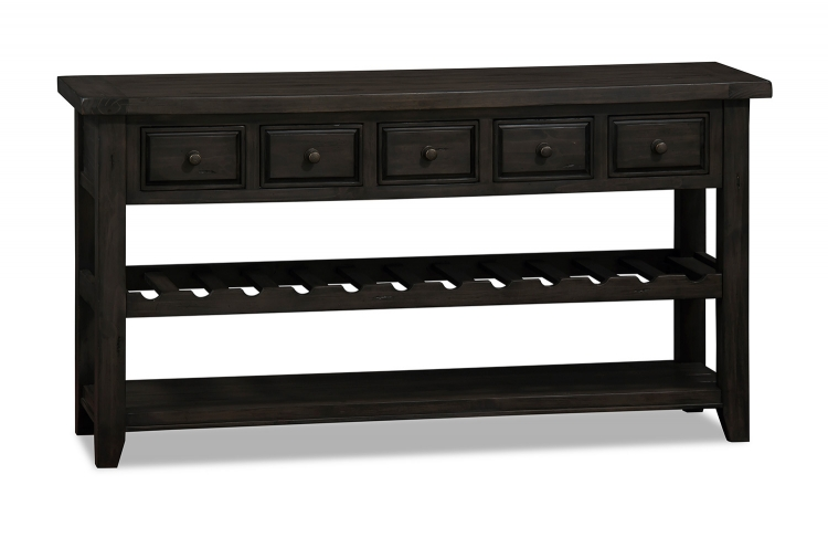 Tuscan Retreat Wine Rack Hall Table with 5 Drawers - Weathered Gray