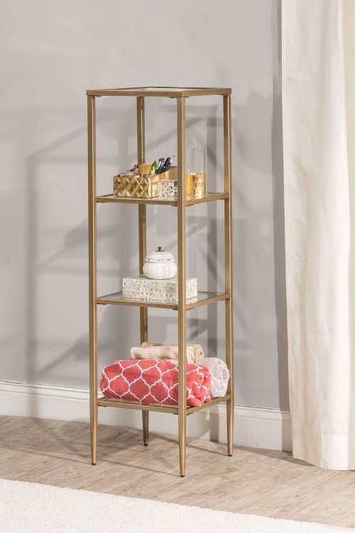 Harlan Stand with 4-Shelves - Gold