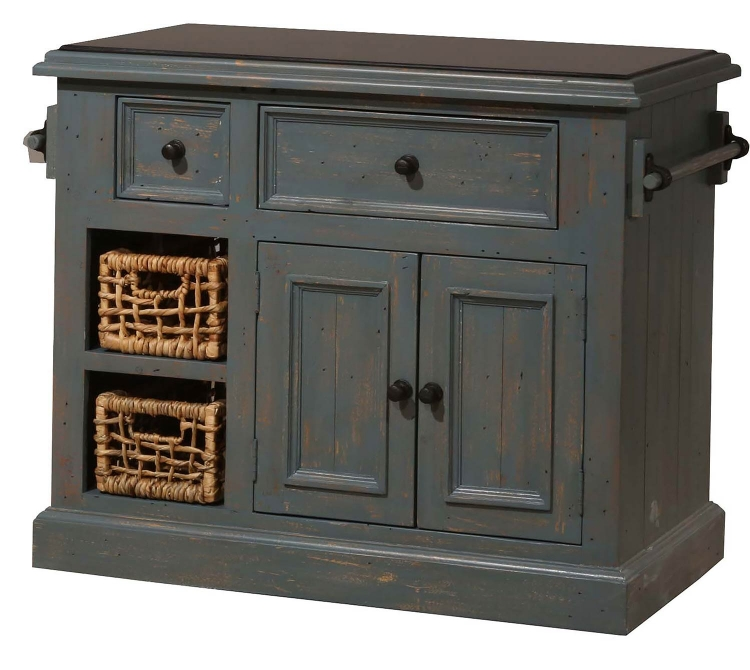 Tuscan Retreat Medium Kitchen Island with Two Baskets - Nordic Blue