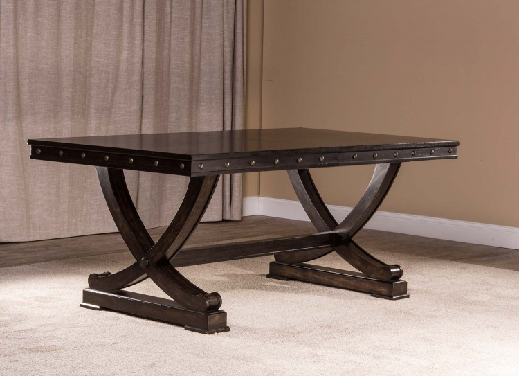 Santa Fe Trestle Dining Table - Distressed Espresso