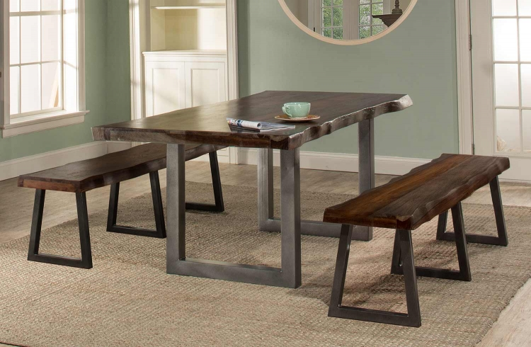 Emerson 3-Piece Rectangle Dining Set with Two Benches - Gray Sheesham