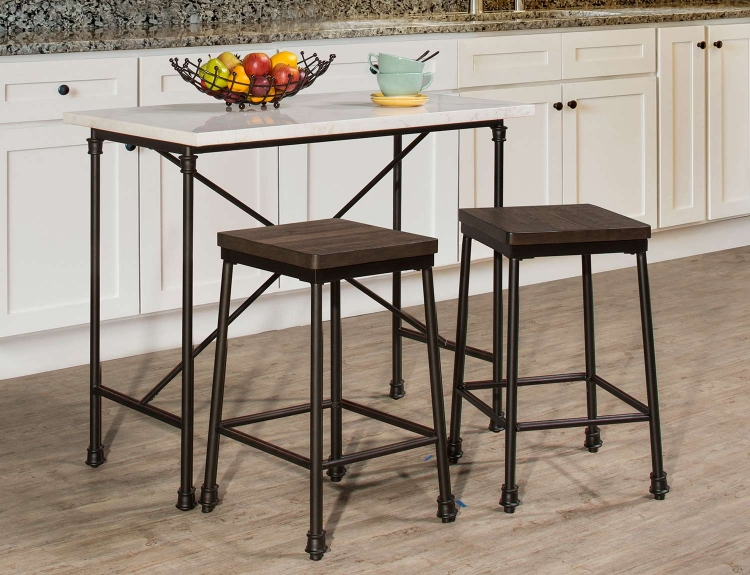 Castille 3-Piece Counter Height Set - Black/White