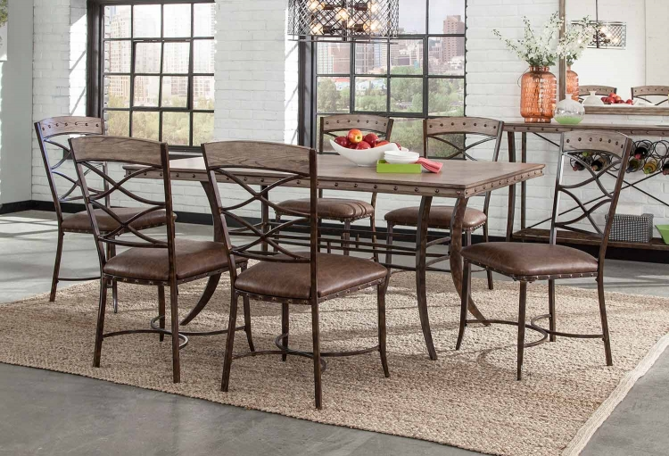 Emmons 7-Piece Rectangle Dining Set - Washed Gray
