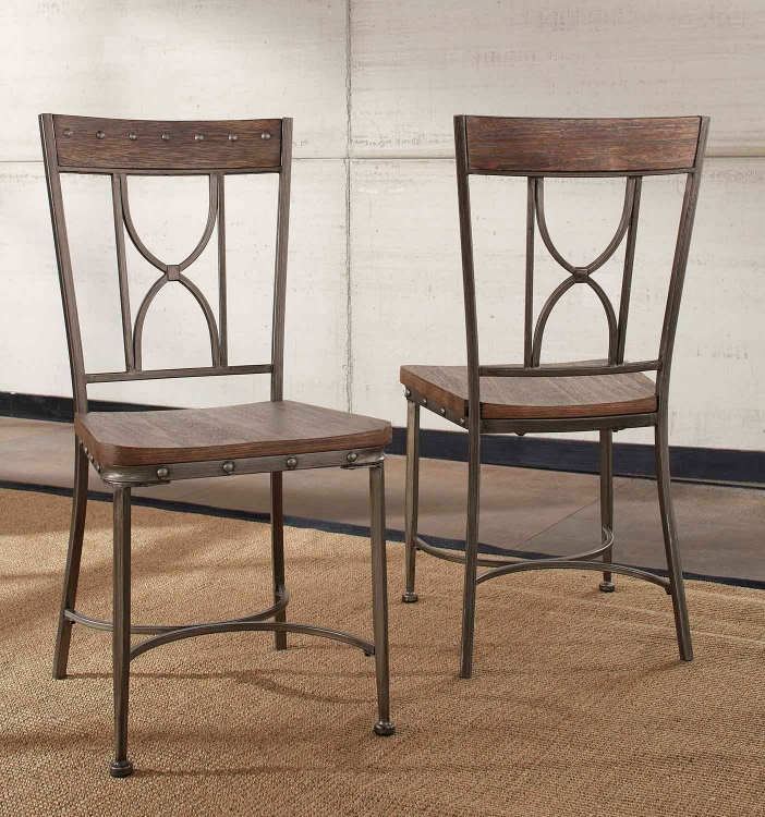 Hillsdale Paddock 7 Piece Rectangle Dining Set Brushed Steel Metal Distressed Brown Hd