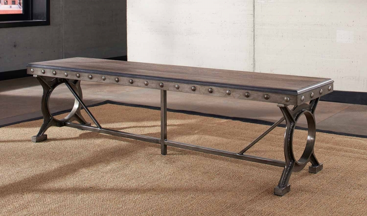Paddock Bench - Brushed Steel Metal/Distressed Brown