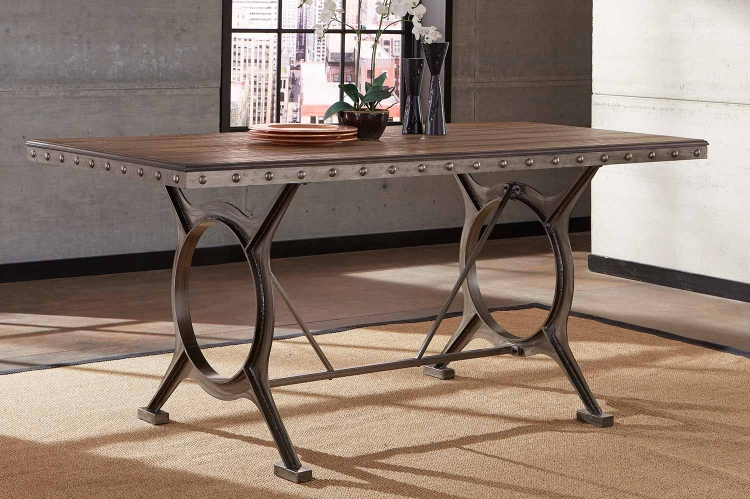 Paddock Counter Height Dining Table - Brushed Steel Metal/Distressed Brown