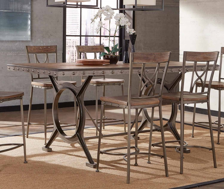 Paddock 5-Piece Counter Height Dining Set - Brushed Steel Metal/Distressed Brown