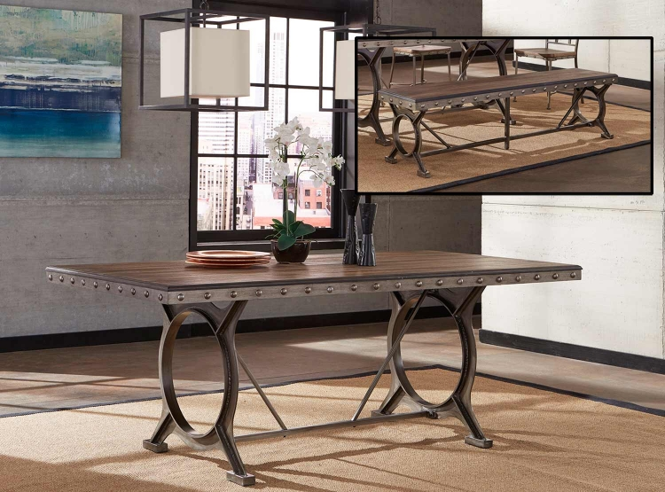 Paddock 3-Piece Rectangle Dining Set - Brushed Steel Metal/Distressed Brown