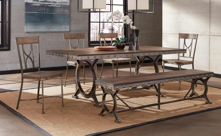 Paddock 6-Piece Rectangle Dining Set - Brushed Steel Metal/Distressed Brown