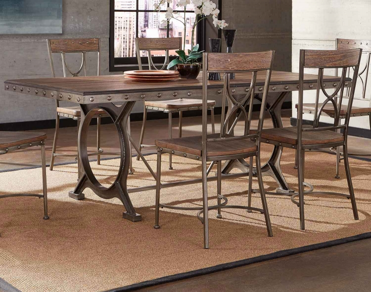 Paddock 5-Piece Rectangle Dining Set - Brushed Steel Metal/Distressed Brown