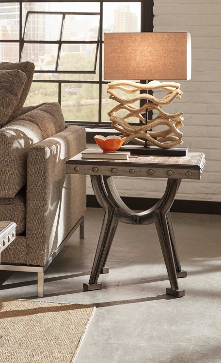 Paddock End Table - Brushed Steel Metal/Distressed Brown