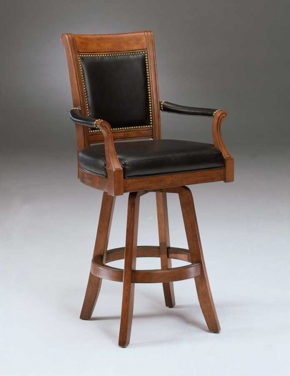 Kingston Swivel Game Leather Back Bar Stool - Hillsdale