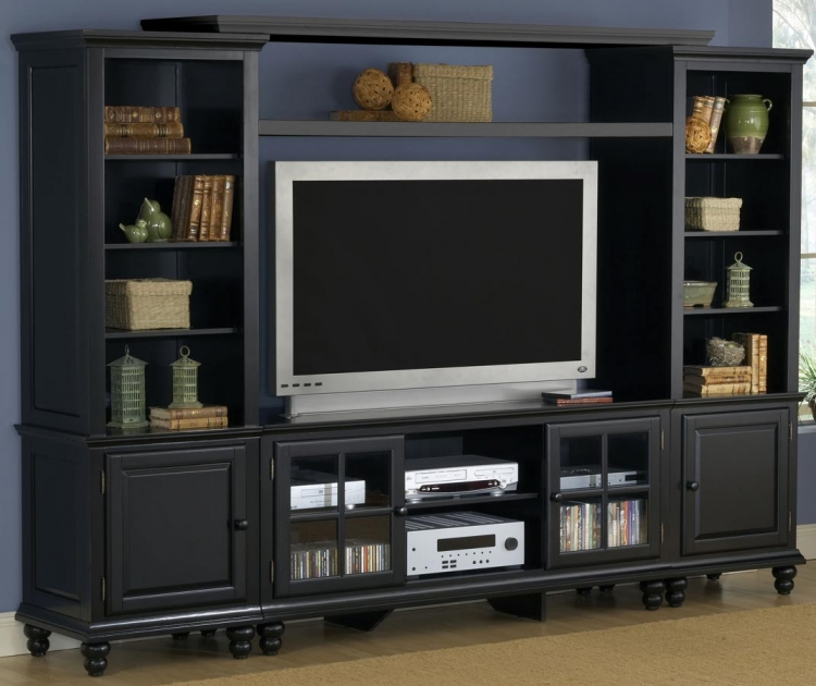 Grand Bay Large Entertainment Wall Unit - Black - Hillsdale