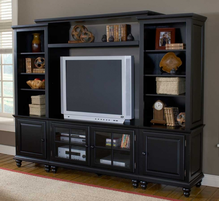 Grand Bay Small Entertainment Wall Unit - Black - Hillsdale