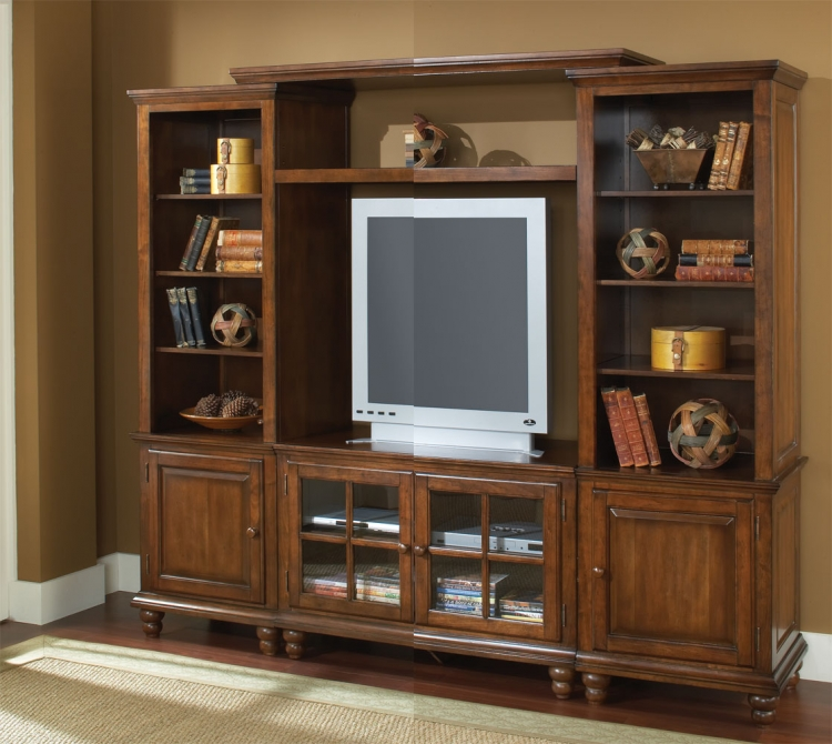 Grand Bay Small Entertainment Wall Unit - Warm Brown