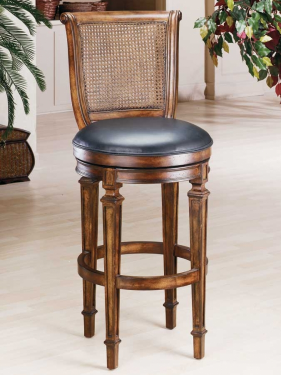 Dalton Cane Back Wood Counter Stool