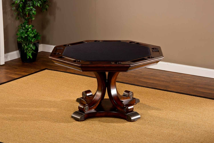 Harding Game Table - Rich Cherry/Brown Leather