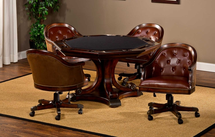 Harding 5-Piece Game Set - Rich Cherry/Brown Leather