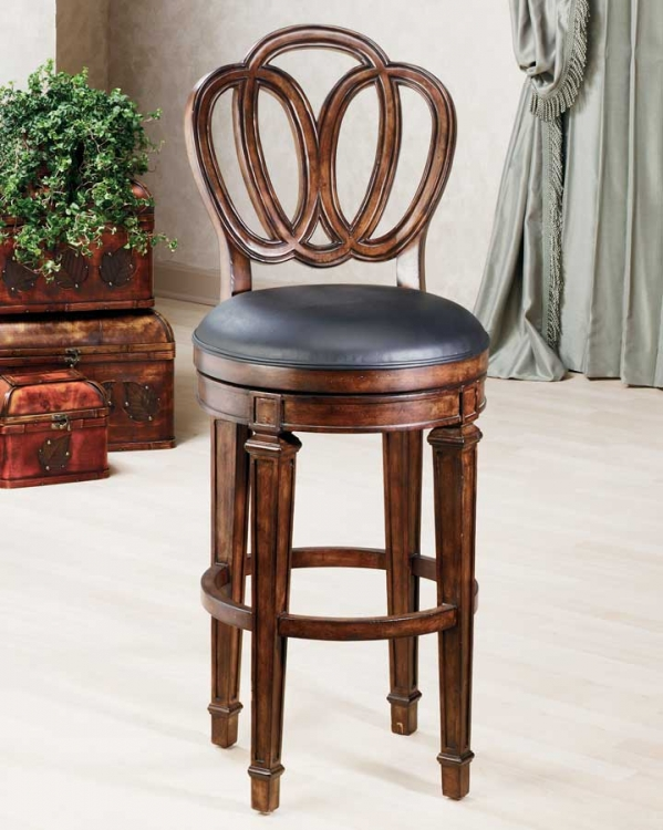 Dover Bar Stool with Leather Seat - Hillsdale