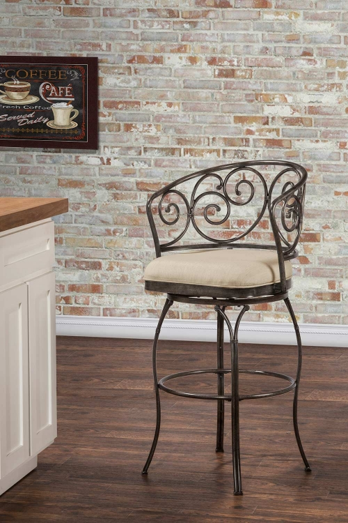 Solana Indoor/Outdoor Swivel Bar Stool - Brushed Pewter