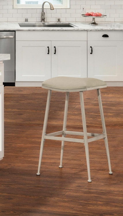 Flynn Indoor/Outdoor Swivel Backless Bar Stool - Whitewash