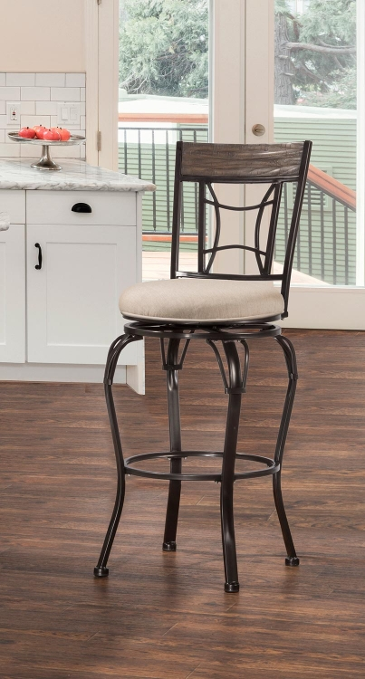 Kent Indoor/Outdoor Swivel Counter Stool - Black