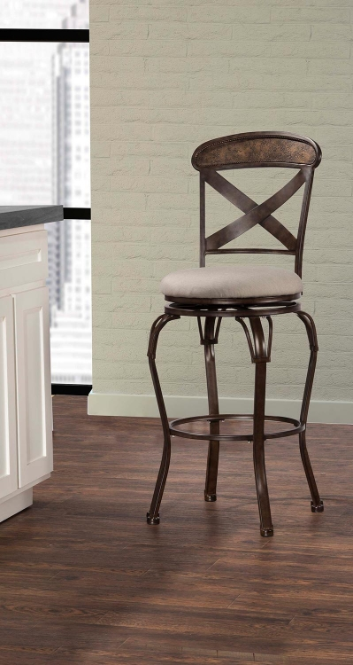 Kinsley Indoor/Outdoor Swivel Counter Stool - Rubbed Bronze