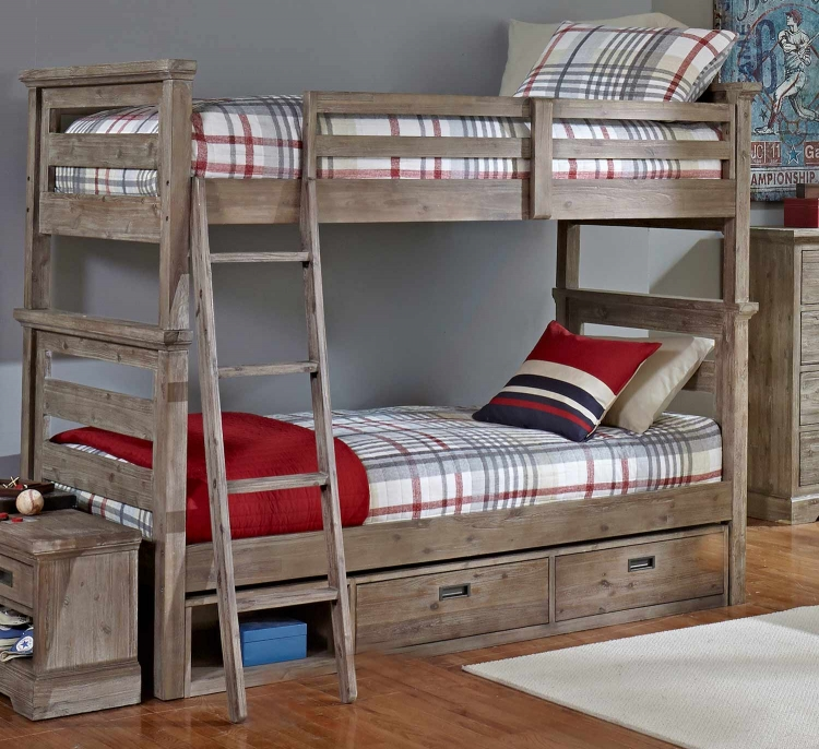 Oxford Oliver Twin Over Twin Bunk Bed With Storage - Cocoa