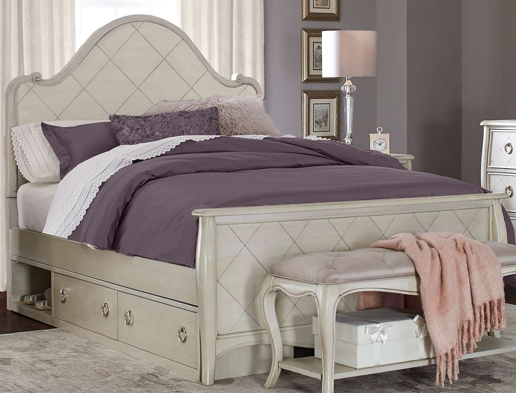 Angela Arc Panel Bed With Storage Unit - Opal Grey