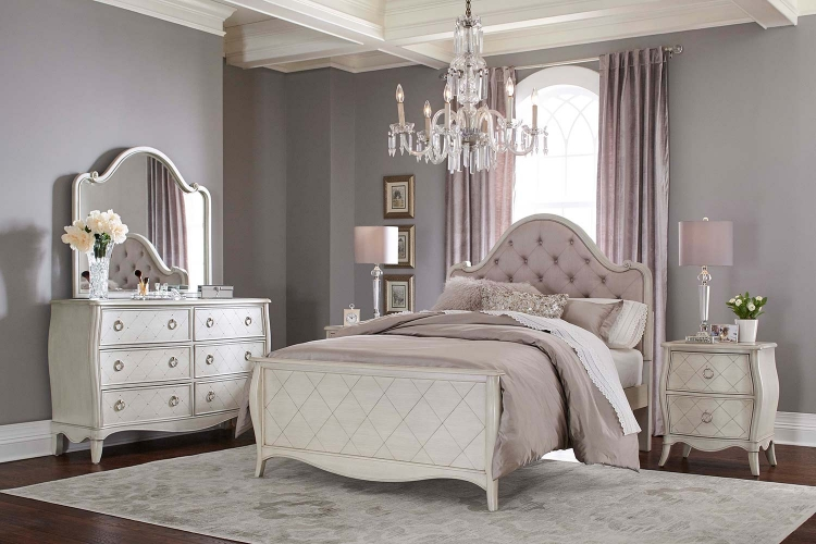 Angela Arc Upholstered Bedroom Set - Opal Grey