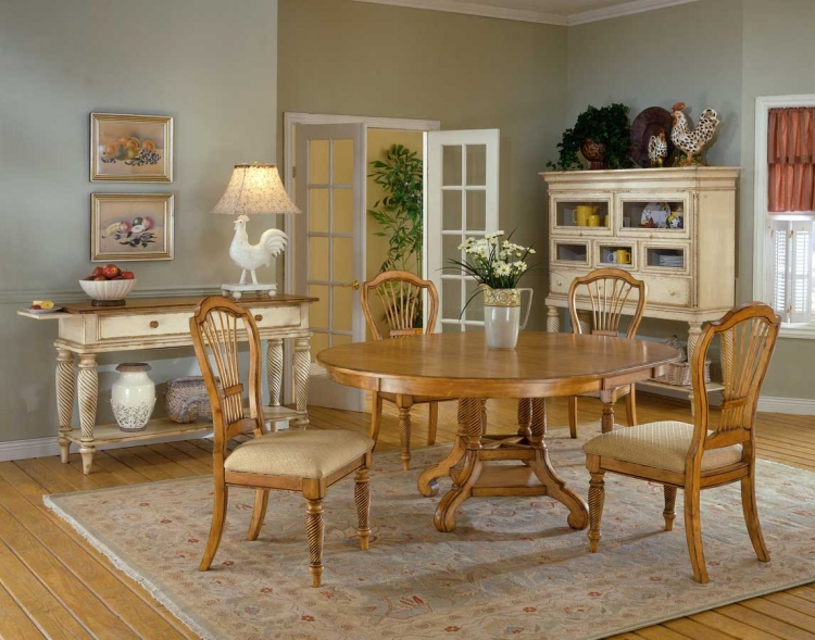 Wilshire Round Dining Collection - Antique Pine - Hillsdale