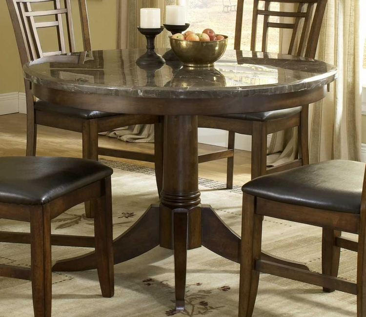 Patterson Round Marble Pedestal Dining Table