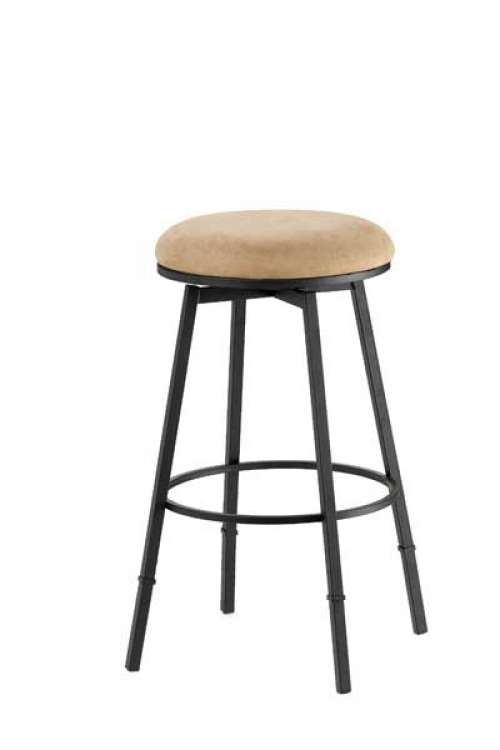 Sanders Adjustable Backless Bar Stool - Matte Black Frame - Bear Fabric